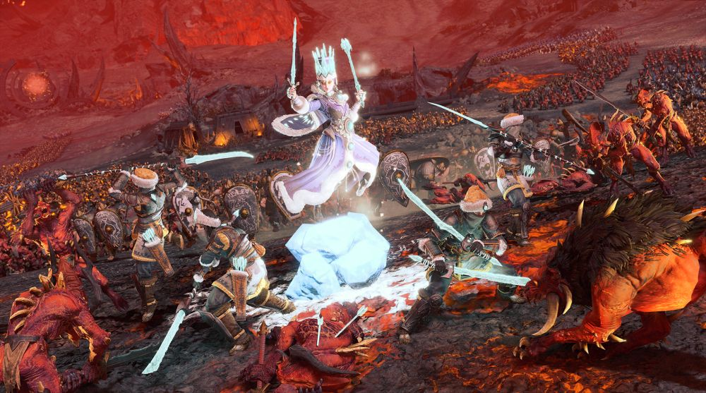 Screenshot of Tzarina Katarin leading her Ice Guard in battle against Khorne.