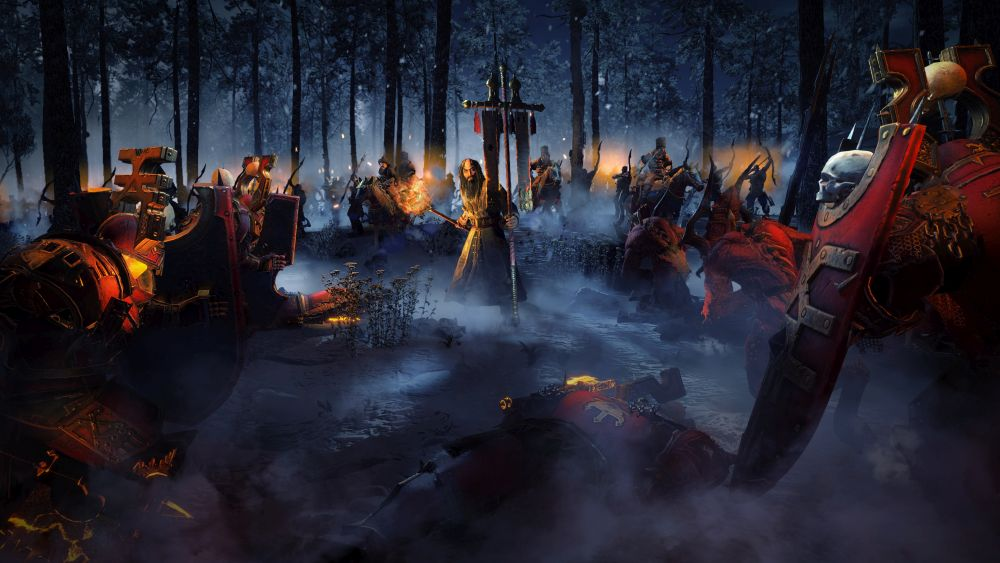 Kostaltyn facing down the hordes of Chaos in a dark forest.