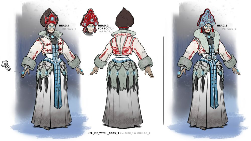 Concept art of a Kislev Ice Witch.