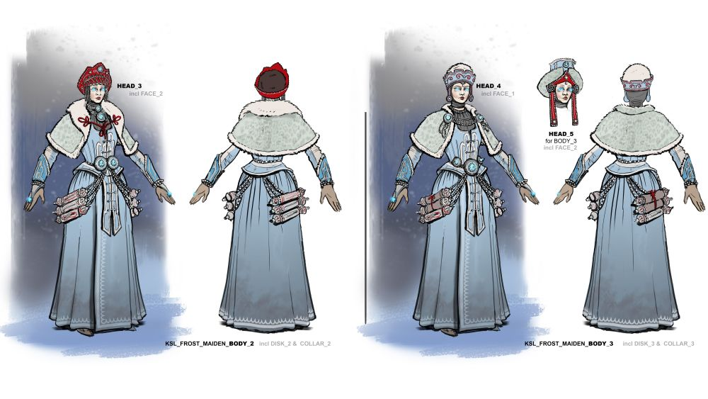 Concept art of a Kislev Frost Maiden.