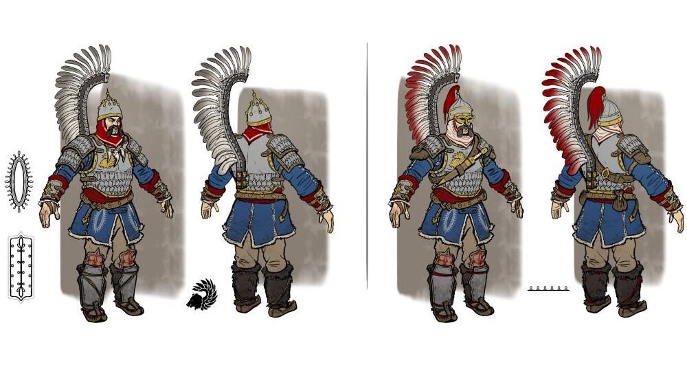 Concept art of the Kislev Winged Lancers.