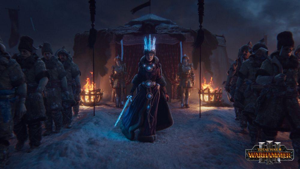 Katarin striding among the warriors of Kislev.