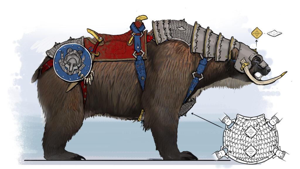 Concept art of the Kislev Light War Sleds bears.