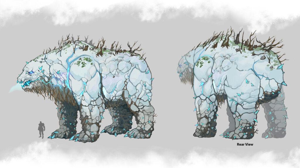 Concept art of the Kislev Elemental Bear.